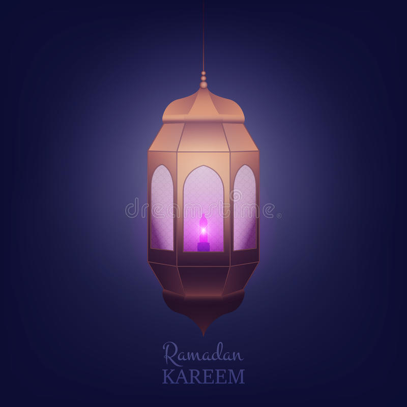 Ramadan Kareem Islamic-ontwerp Arabische achtergrond met lantaarn en glanzend licht