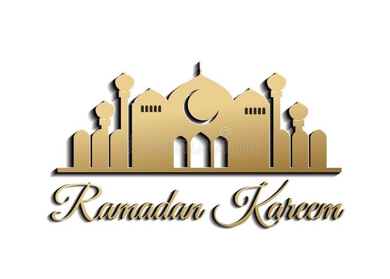 Ramadan-kareem islamische schöne Entwurfsschablone Goldelemente Grußkarte mit Stadtbildhintergrund vektor abbildung