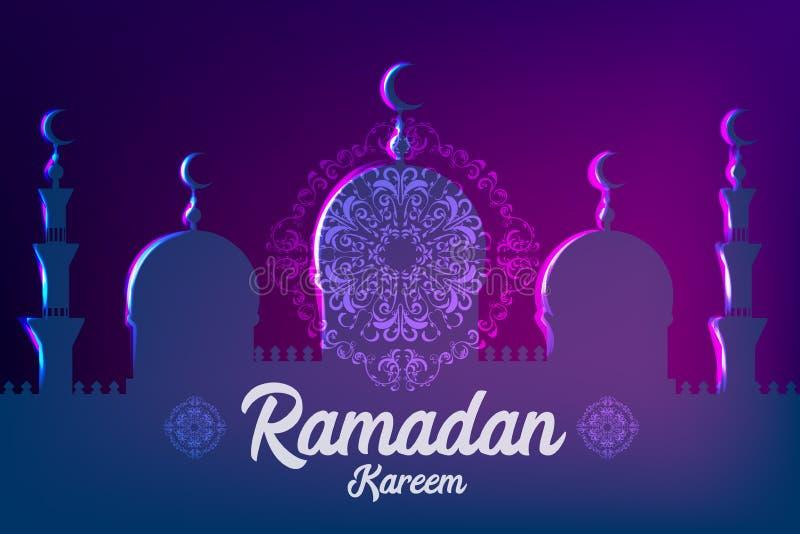 Ramadan Kareem islamiskt hälsningkort stock illustrationer