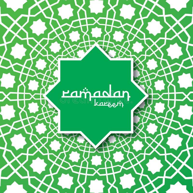 Ramadan Kareem islamski powitanie z abstrakcjonistycznym ornamentu wzoru elementu projektem dla sztandaru lub karty tła wektoru i royalty ilustracja