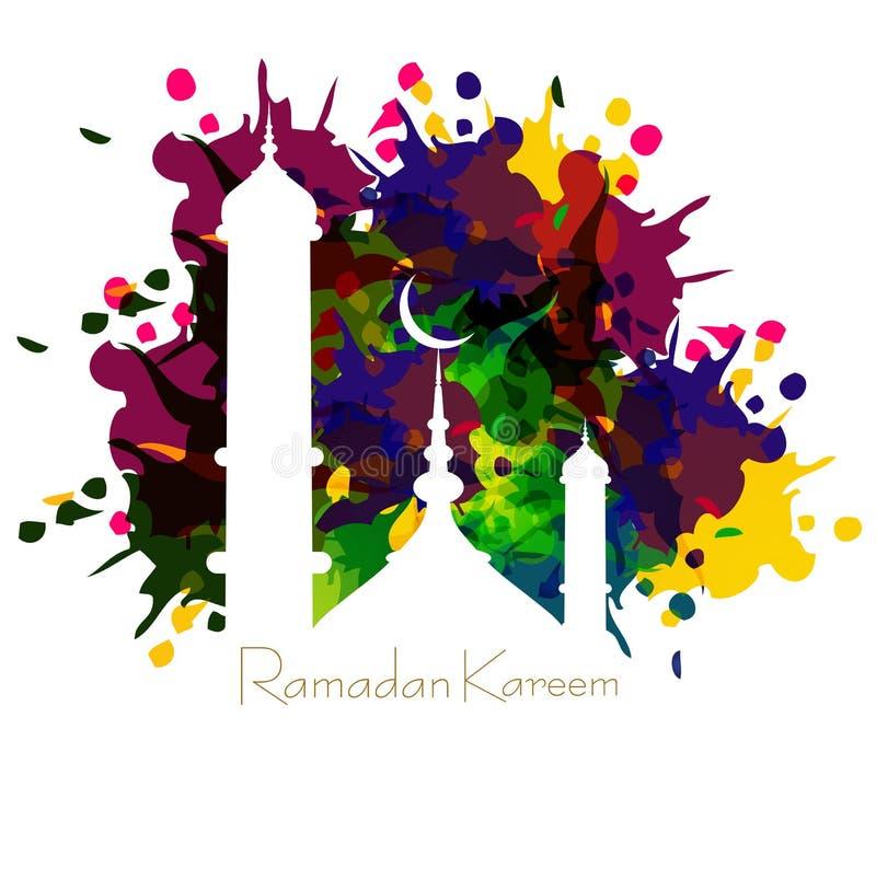 Ramadan kareem kaart met aardige grungy kleurrijke moskee stock illustratie
