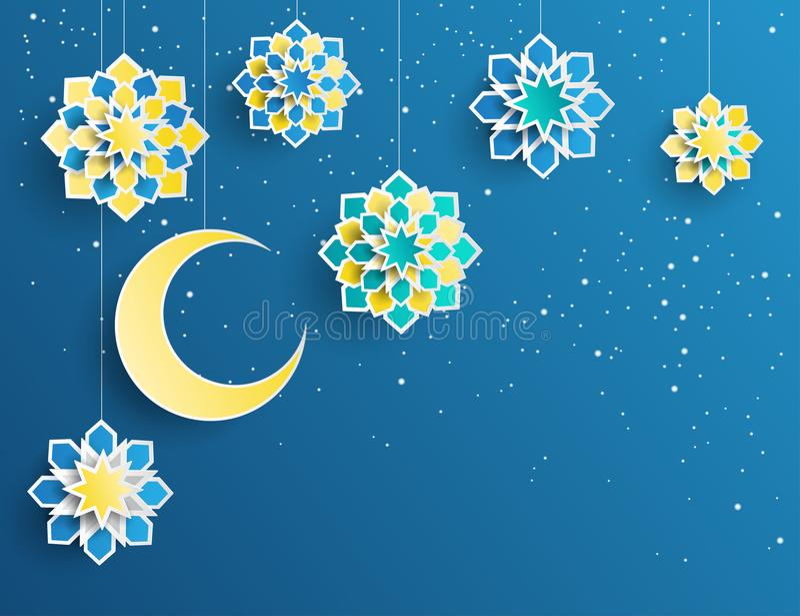 Ramadan Kareem kartka z pozdrowieniami z arabskim origami papierem gra główna rolę ilustracja wektor