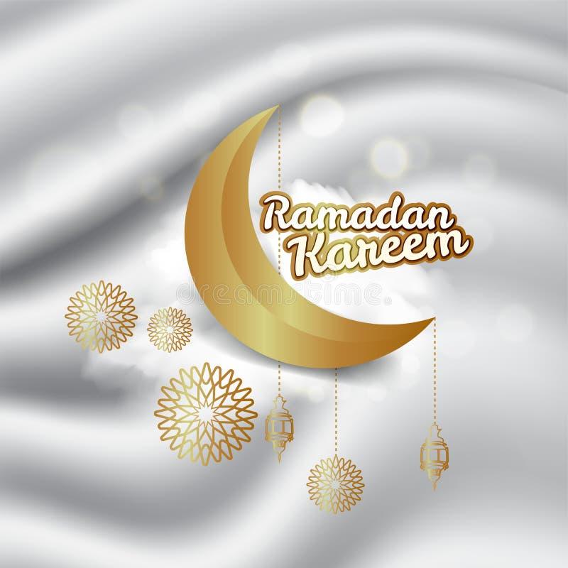 Ramadan Kareem kartka z pozdrowieniami dekorowa? z arabskimi lampionami, p??ksi??yc ksi??yc i kaligrafii inskrypcj? kt?ra sposobu ilustracji