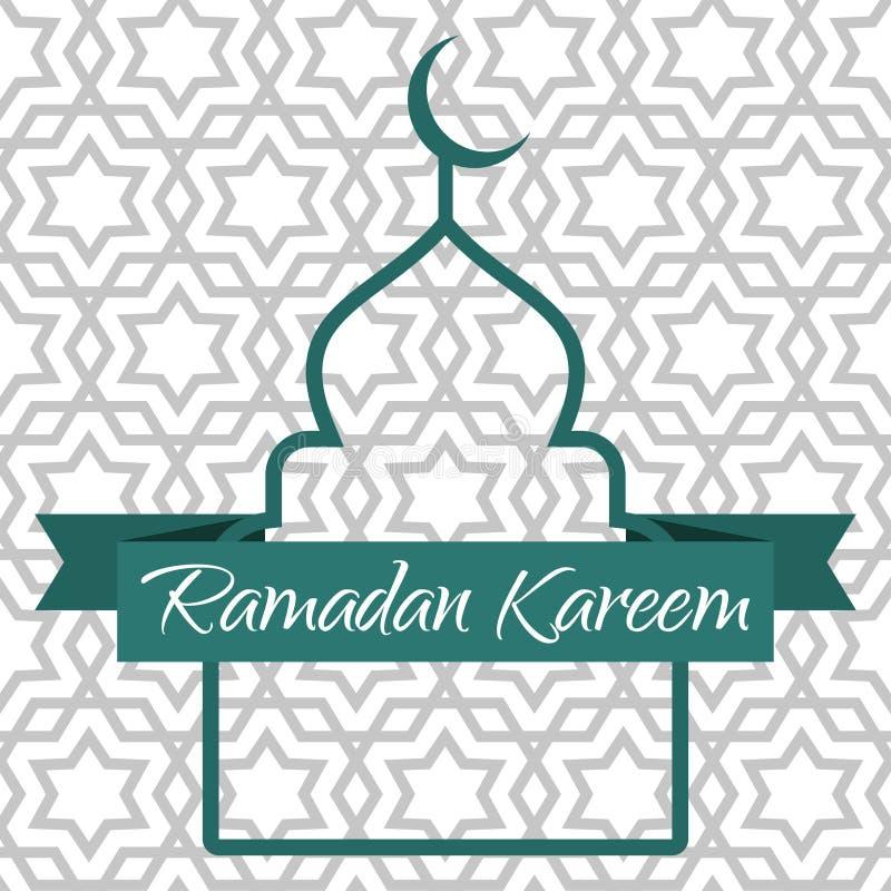 Ramadan Kareem kartka z pozdrowieniami Kontur meczet i faborek royalty ilustracja