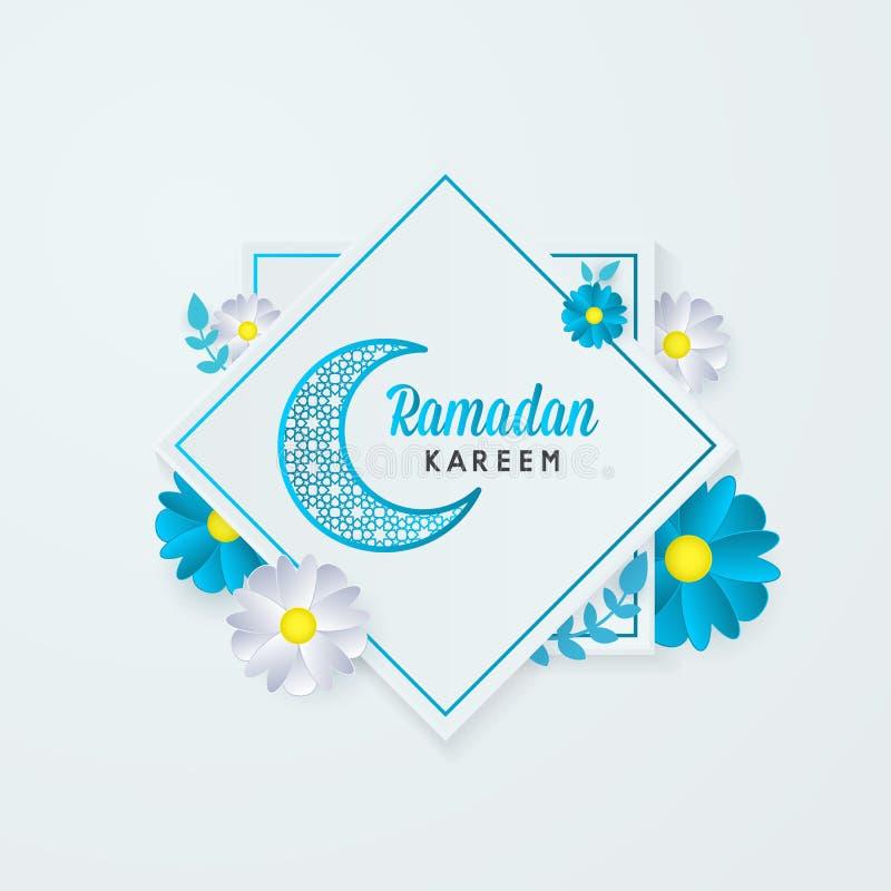 Ramadan kareem kartka z pozdrowieniami księżyc kwiatu kwadrata tła islamski szablon royalty ilustracja