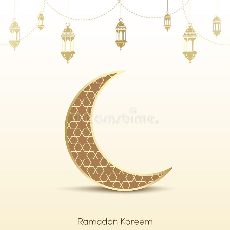 Ramadan Kareem kartka z pozdrowieniami z meczetem, księżyc i język arabski lampami, royalty ilustracja