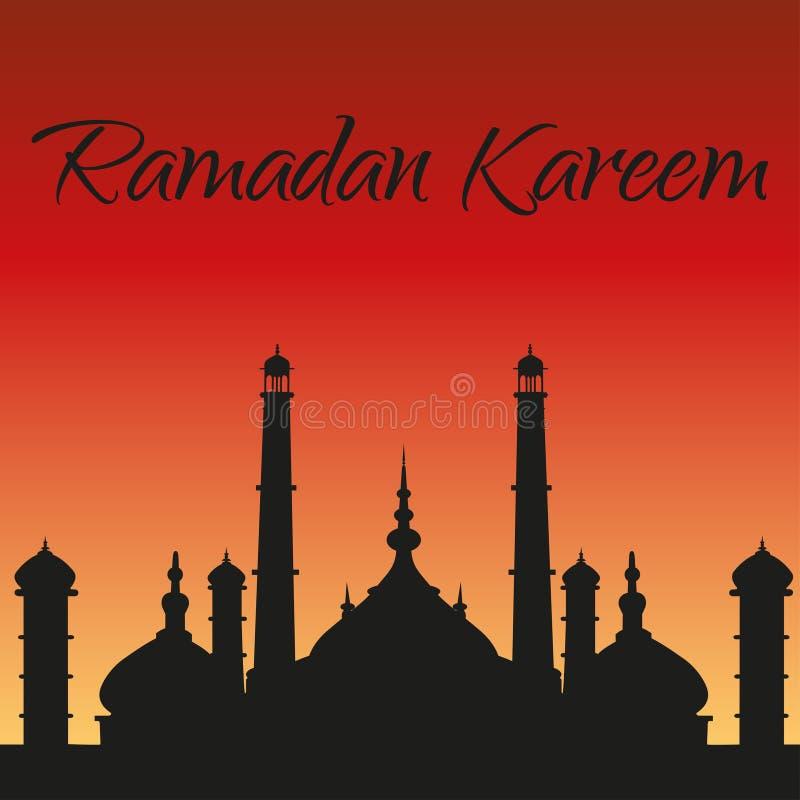 Ramadan Kareem kartka z pozdrowieniami Sylwetka meczet ilustracji