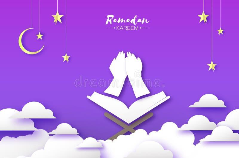 Ramadan Kareem kartka z pozdrowieniami z symbolem islam - Półksiężyc księżyc święta księga Koran na stojaku Papier cutHoly royalty ilustracja