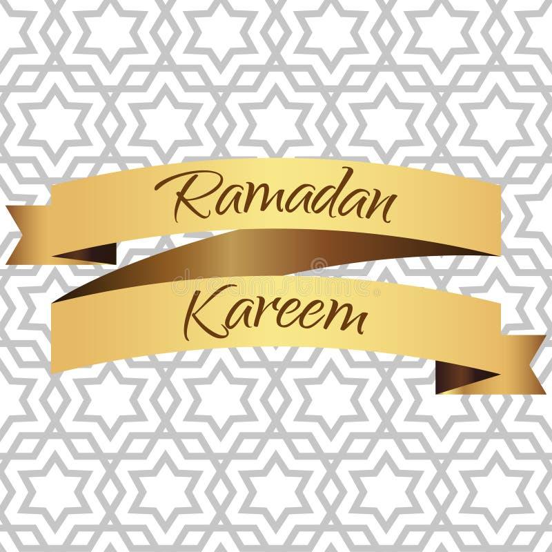 Ramadan Kareem kartka z pozdrowieniami Złoty faborek również zwrócić corel ilustracji wektora royalty ilustracja