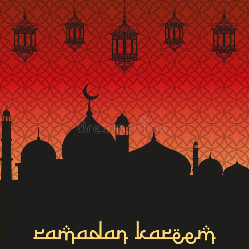 Ramadan kareem kartka z pozdrowieniami z meczetami i bezszwowym wzorem royalty ilustracja
