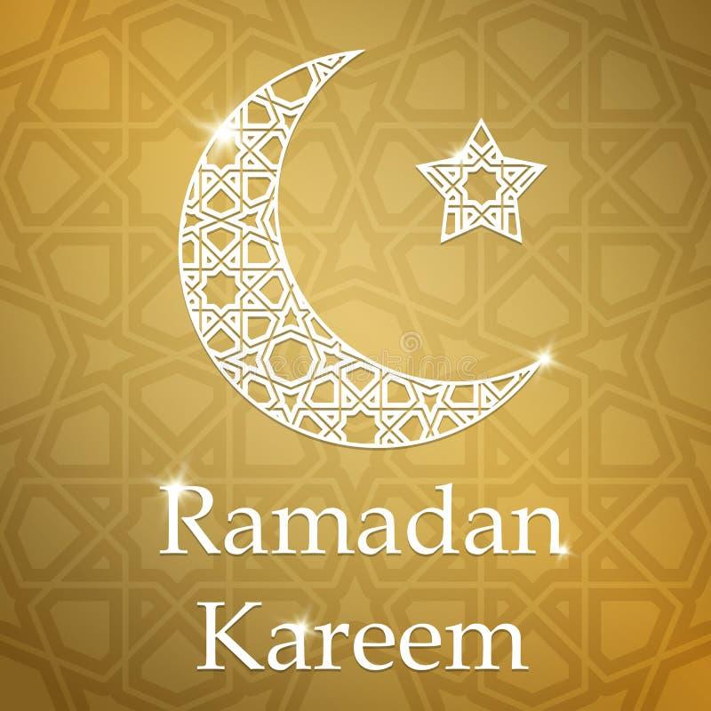 Ramadan Kareem kartka z pozdrowieniami z przyrodnią księżyc i gwiazdą royalty ilustracja