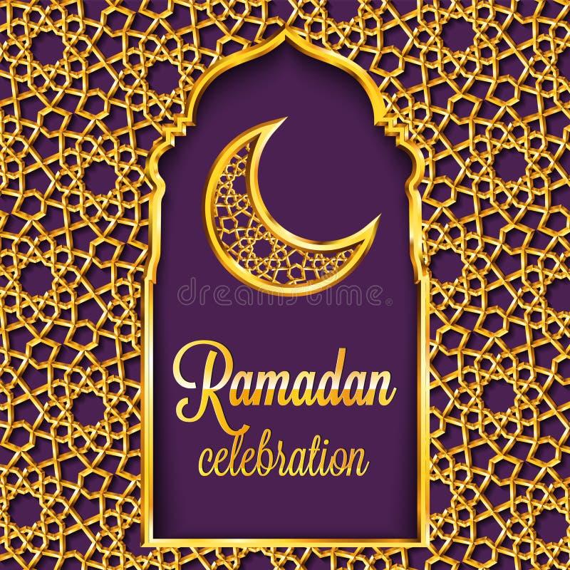 Ramadan Kareem kartka z pozdrowieniami z tradycyjnym islamskim wzorem, zaproszeniem lub broszurką w wschodnim stylu, royalty ilustracja