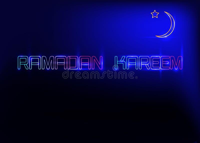 Ramadan Kareem kartki z pozdrowieniami, neonowego znaka styl Projektuje szablon, lekki sztandar, nocy neonowy ogłoszenie z półksi royalty ilustracja