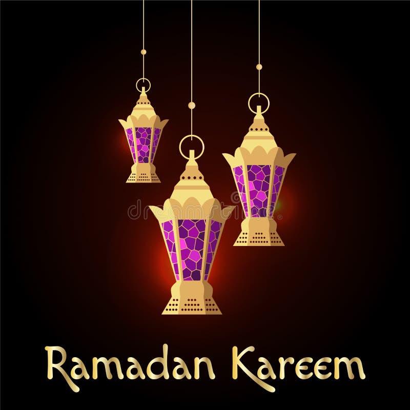 Ramadan Kareem kort med att hänga arabiska lampor stock illustrationer