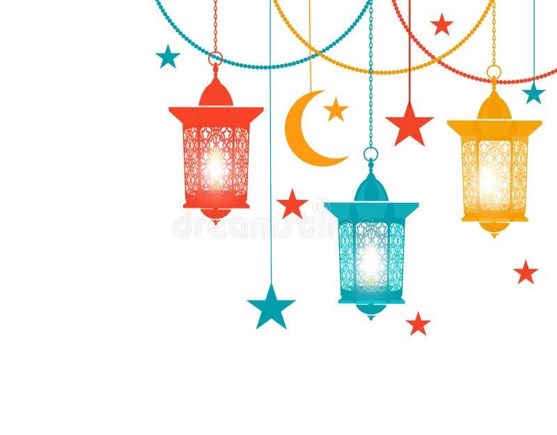 ramadan kareem Kulöra lyktor i den orientaliska stilen hänger på kedjor, stjärnor, en växande måne Isolerat på vit vektor illustrationer