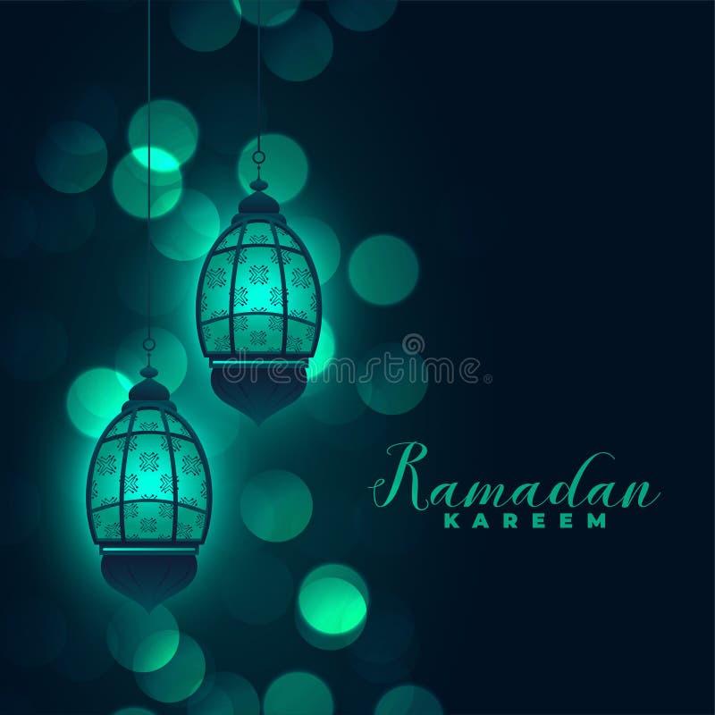 Ramadan kareem lamps on bokeh background royalty free illustration