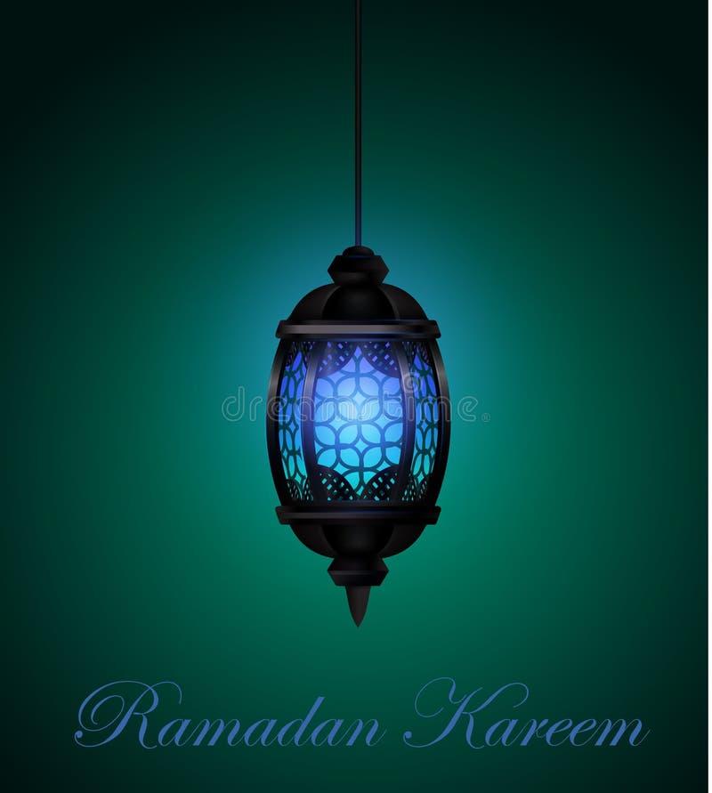 Ramadan Kareem Lantern of Fanous in een Donkere Gloeiende Vectorillustratie Als achtergrond royalty-vrije illustratie