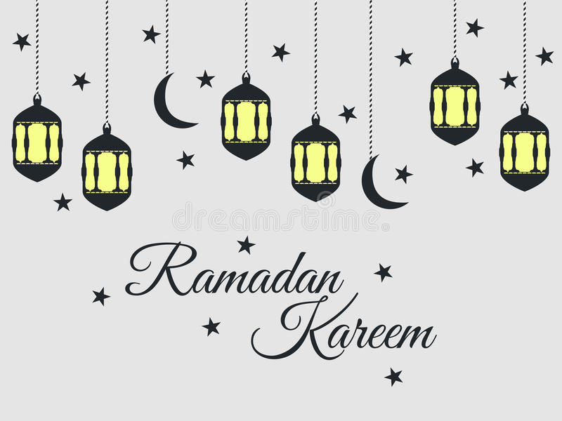 Ramadan Kareem, lantern and moon, muslim holiday lights on a light background. stock illustration