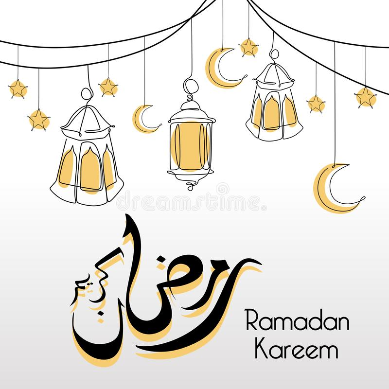 Ramadan kareem line art design decorative lantern, moon, and stars. Vintage modern minimalist template with islamic calligraphy stock illustration