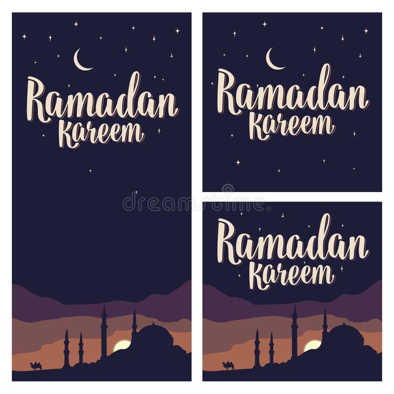 Ramadan kareem literowanie z minaretami, półksiężyc, gwiazda w nocnym niebie royalty ilustracja