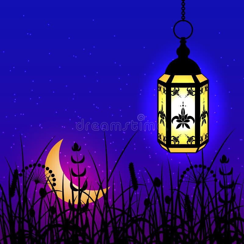 ramadan kareem Lykta, måne och natthimmel stock illustrationer