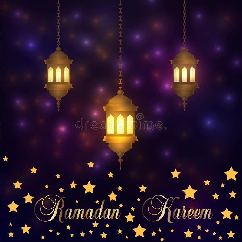 Ramadan Kareem lykta på en gnistrandetexturbakgrund Arabisk illustration för glöd, Ramadaninbjudankort på en glödnattbackgrou royaltyfri illustrationer