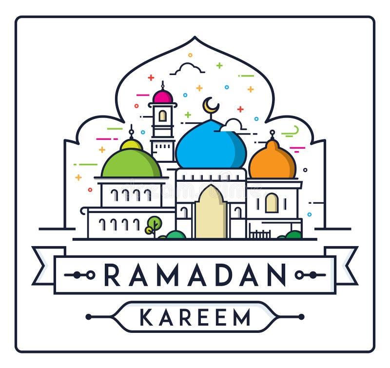 Ramadan Kareem med den enkla moskén royaltyfri illustrationer