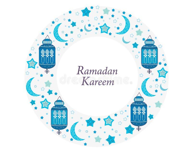 Ramadan Kareem med lampor, halvmånformig och stjärnor Traditionell lykta av illustrationen för vektor för blått för Ramadancirkel stock illustrationer
