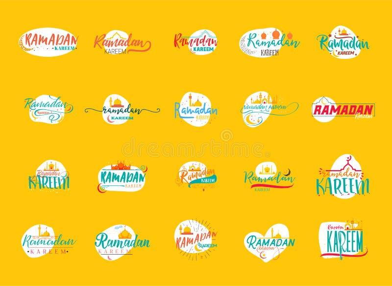 Ramadan Kareem - Met de hand gemaakt malplaatje Het geïsoleerde vectorobjecten embleem is een kenteken voor uw ontwerp stock illustratie
