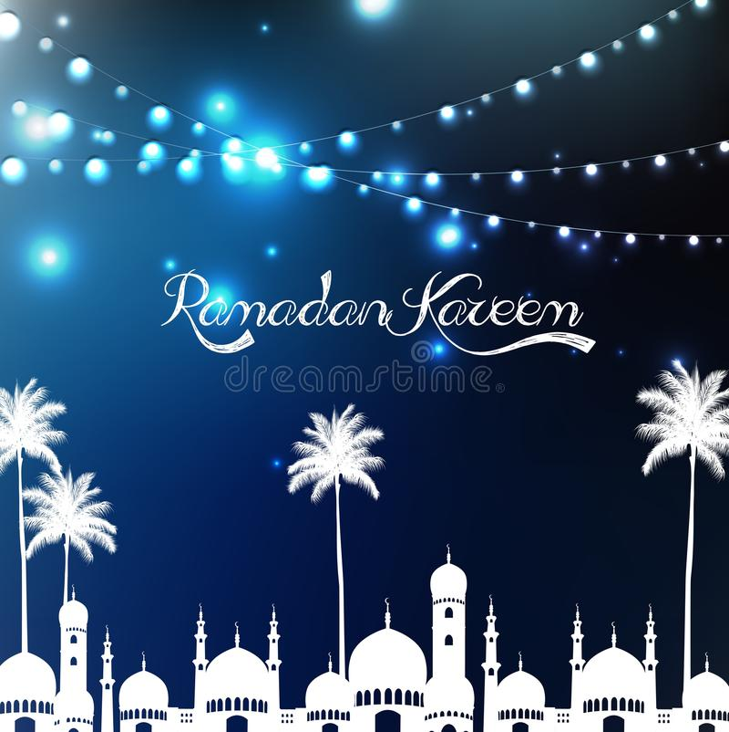 Ramadan kareem met moskee en palm stock illustratie