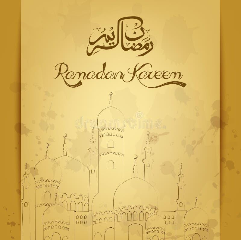Ramadan kareem met moskee oude achtergrond vector illustratie