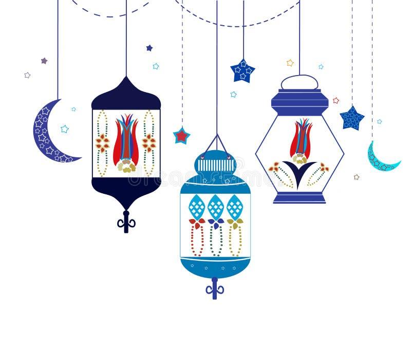 Ramadan Kareem mit bunten Lampen, Halbmonden und Sternen Traditionelle Laterne des Ramadan-Vektorhintergrundes stock abbildung