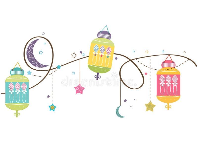 Ramadan Kareem mit bunten Lampen, Halbmonden und Sternen Traditionelle Laterne des Ramadan-Vektorhintergrundes