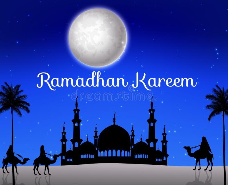 Ramadan-kareem mit gehendem Kamelwohnwagen und Schattenbildmoschee lizenzfreie abbildung