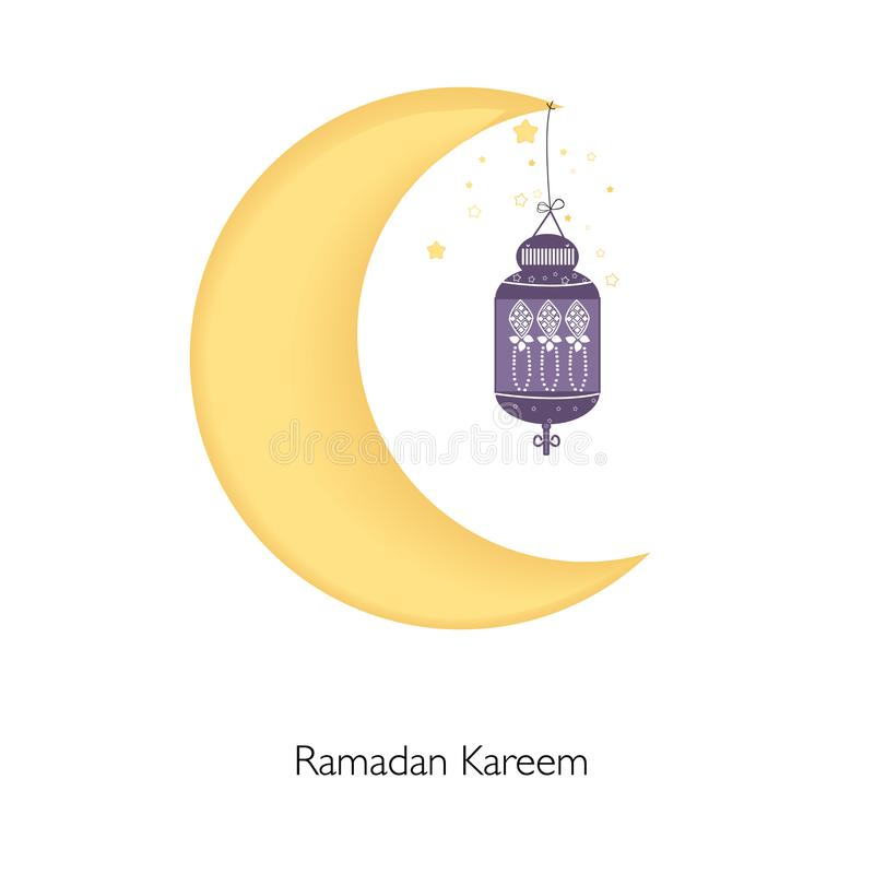 ramadan kareem mit mond sternen und laterne vektor abbildung illustration von lampe. Black Bedroom Furniture Sets. Home Design Ideas
