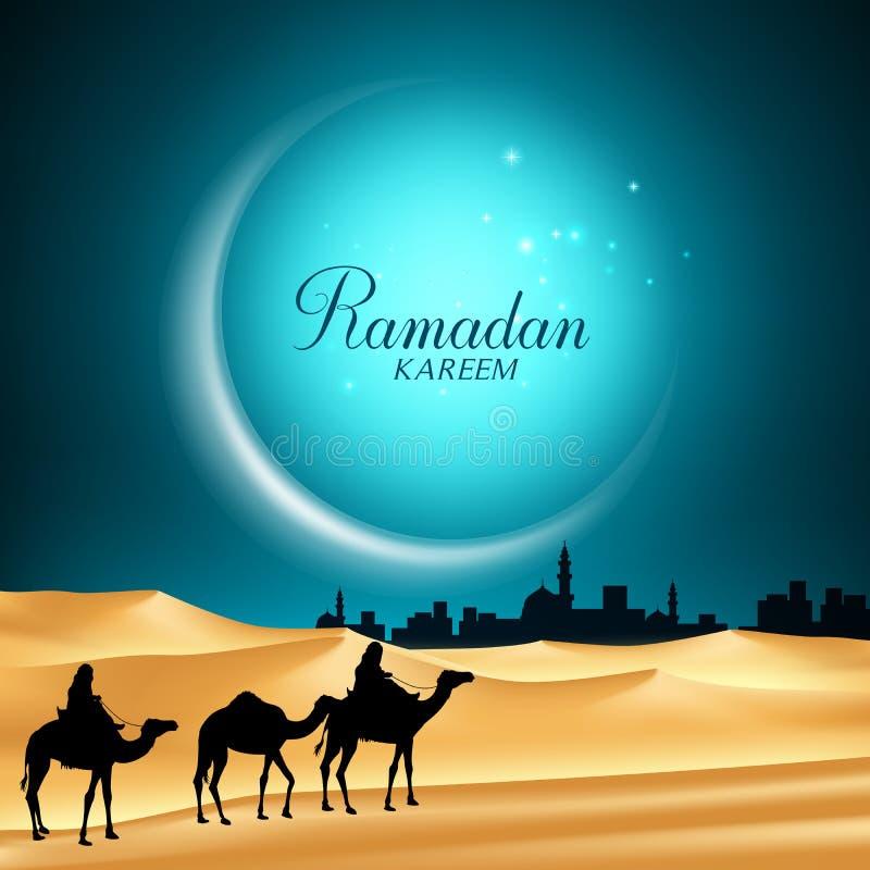 Ramadan Kareem Moon Background en la noche con los camellos stock de ilustración