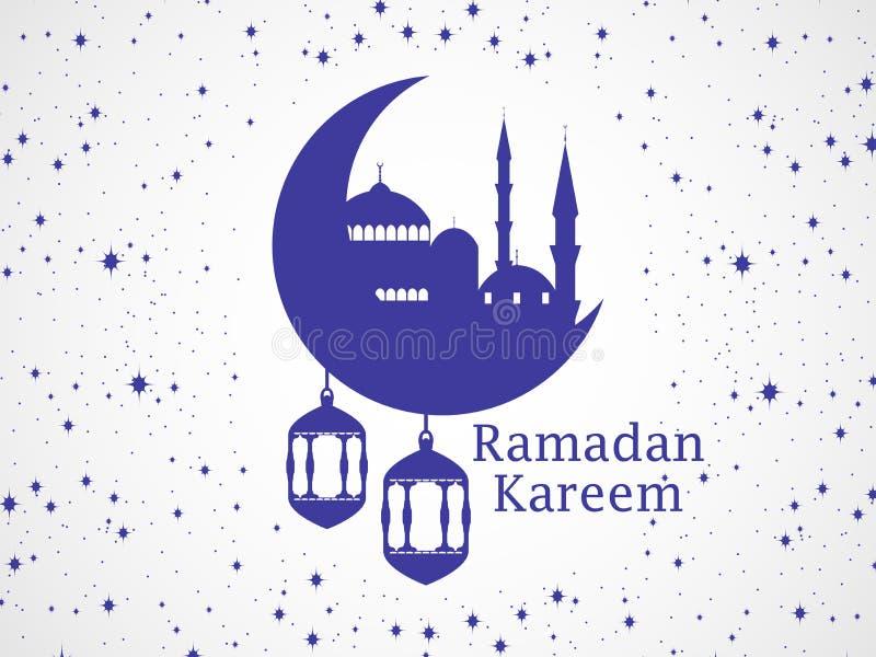 ramadan kareem Moské och ett halvmånformig Lykta, stjärnor och måne Muslimska ferieljus vektor stock illustrationer