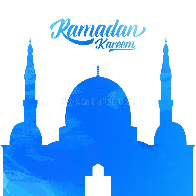 Ramadan Kareem Moskee met waterverftextuur Islamitische vakantieillustratie