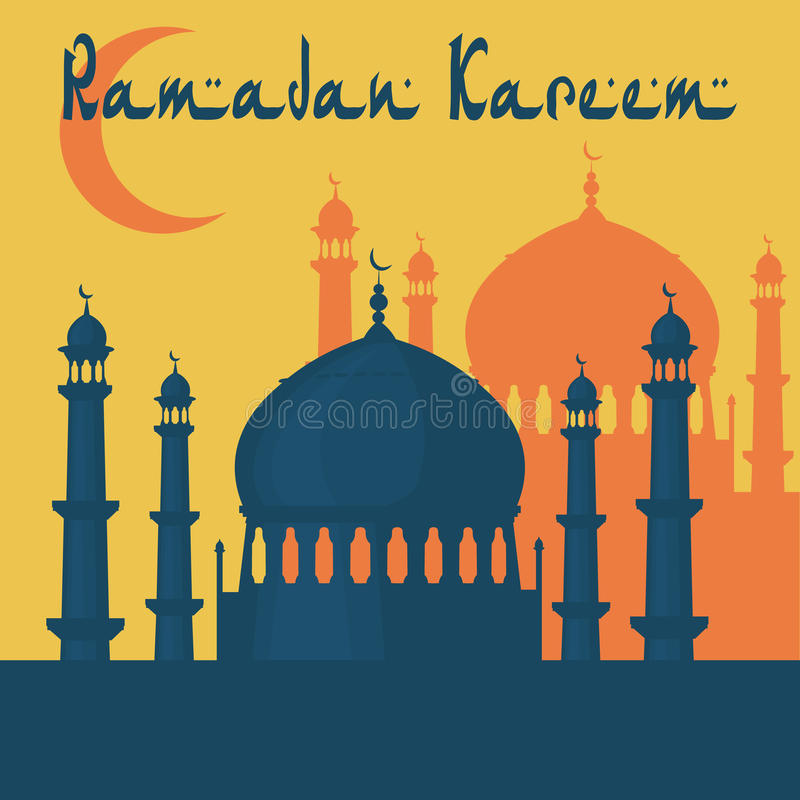 Ramadan Kareem. The mosque is painted in the style of the Taj Mahal temple. illustration royalty free illustration