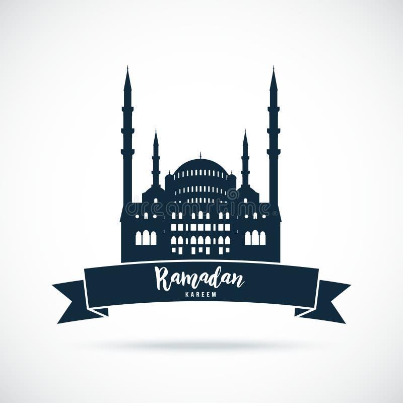 Ramadan Kareem Muestra de la mezquita ilustración del vector