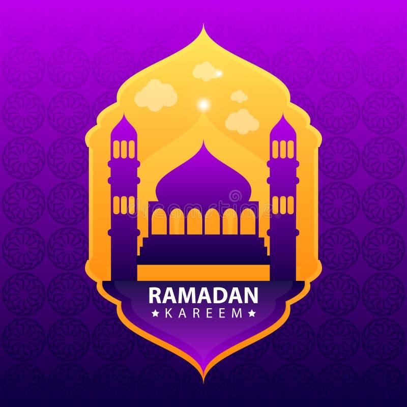 Ramadan kareem na purpurowym abstrakcjonistycznym tle royalty ilustracja