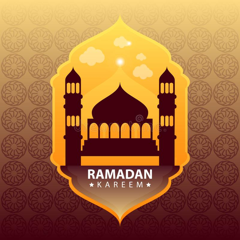 Ramadan kareem na złocistym abstrakcjonistycznym tle royalty ilustracja