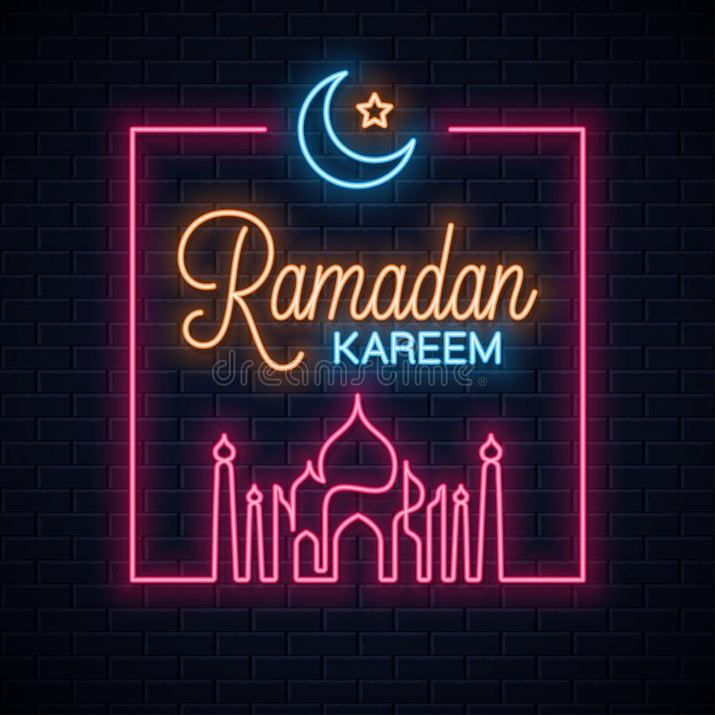 Ramadan kareem neon sign. Ramadan eid neon. Banner on wall background 10 eps