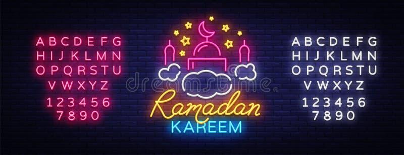 Ramadan Kareem neon sign. Ramadan Kareem vector banner in neon style, night bright signboard, celebration of Muslim. Community festival, islamic greeting design royalty free illustration