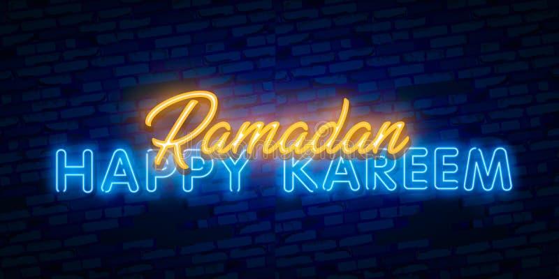 Ramadan Kareem neontecken Stil för vektorbanerneon Islamisk hälsa design Mall för Ramadan Holiday illustrationdesign stock illustrationer