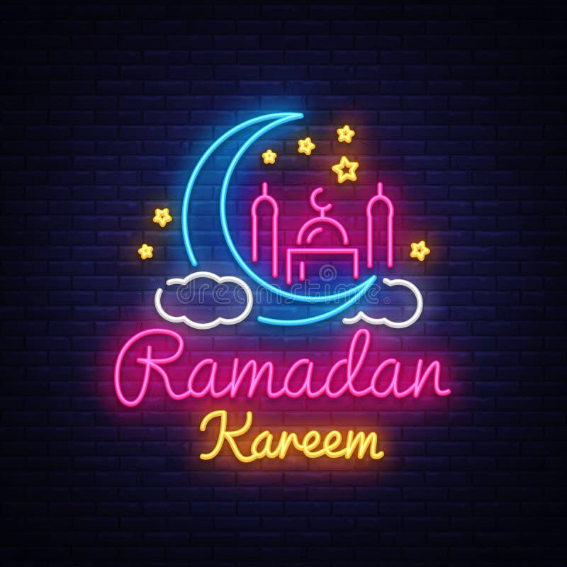 Ramadan Kareem neontecken Ramadan Kareem vektorbaner i neonstil, ljus skylt för natt, beröm av muselmanen vektor illustrationer