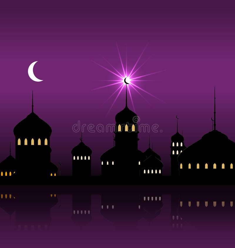 Ramadan Kareem Night Background con la moschea ed i minareti della siluetta illustrazione vettoriale