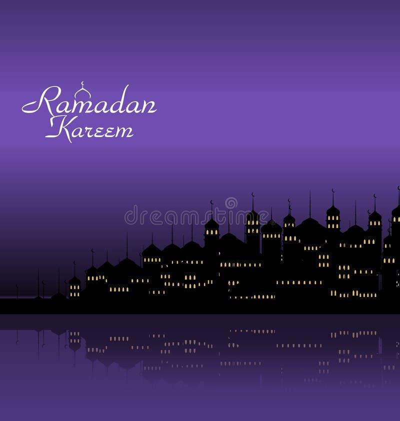 Ramadan Kareem Night Background med konturmoskén och minaret stock illustrationer