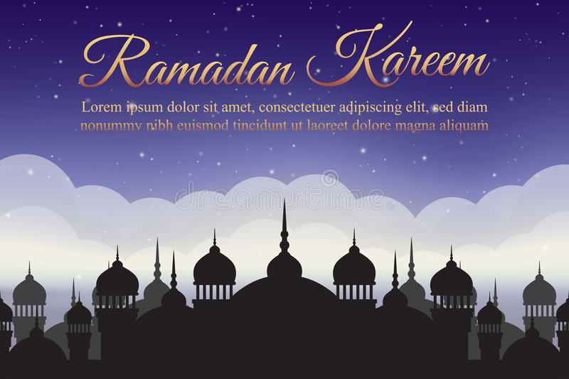 Ramadan Kareem. Night sky with mosque silhouette and clouds. Arabic background vector illustration