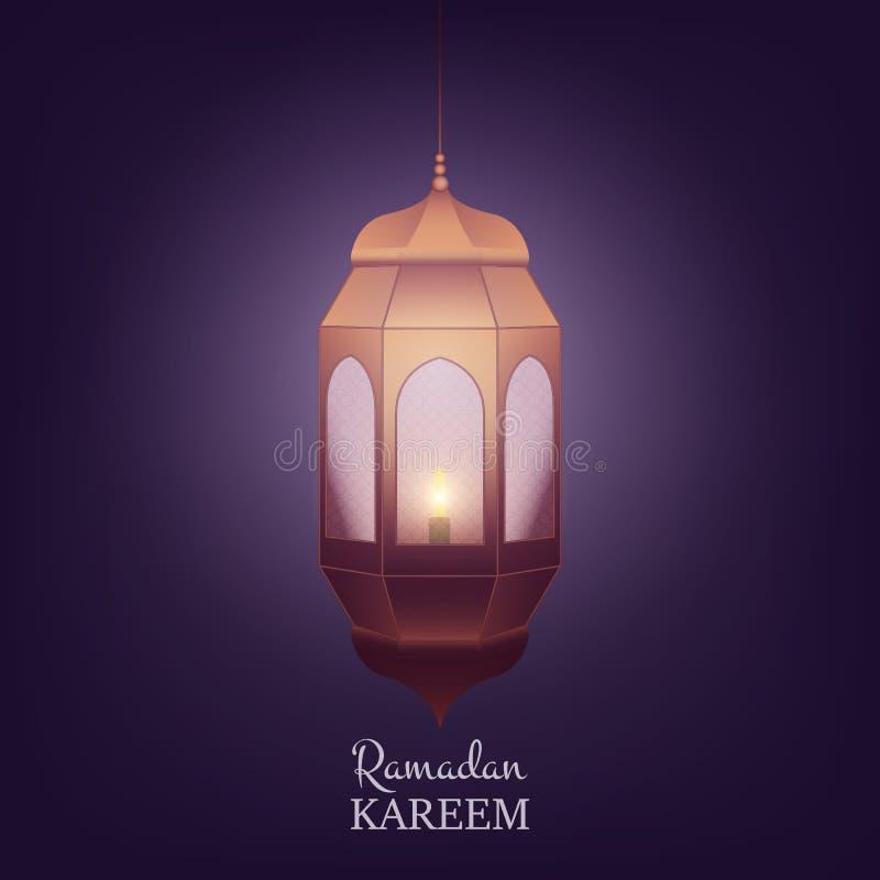 Ramadan Kareem-ontwerplay-out Arabische achtergrond met lantaarn en glanzend licht